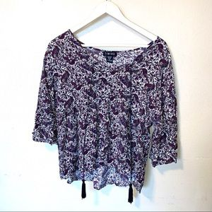 Timing long sleeve flowery top size medium